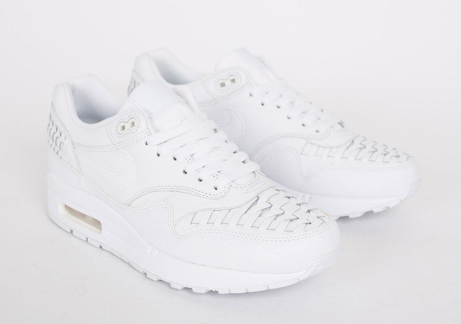 nike air max 1 woven triple white