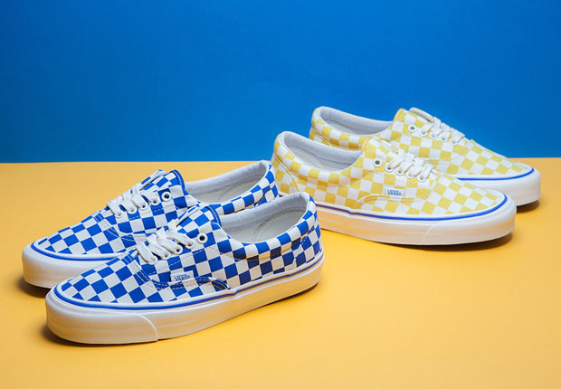 black and white checkerboard vans with yellow