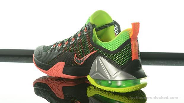 Nike LeBron 12 Low \u201cRemix\u201d Color: Black/Metallic Silver-Green  Strike-Volt-Hot Lava Style Code: 724557-003. Release Date: 07/02/15. Price:  $175