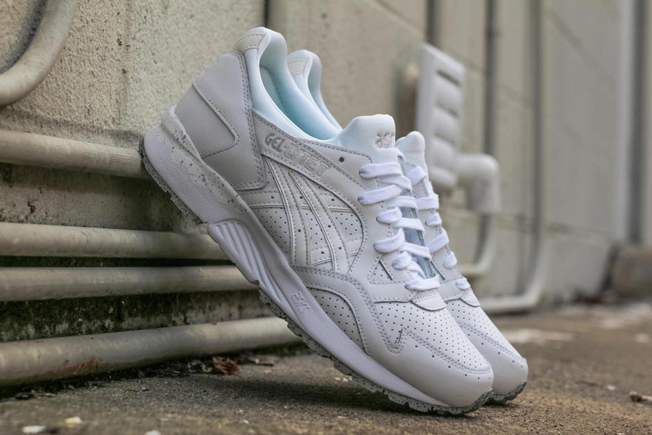The Asics Gel Lyte V is back in a summer ready shade that toes the line on  the all white aesthetic. The classic retro runner returns with a cement  speckle ...