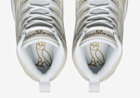 """The Official Images Of Drake's Air Jordan 10 """"OVO"""" Are Charged Up"""