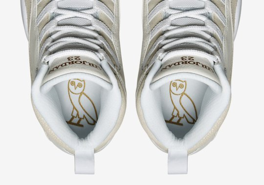 "The Official Images Of Drake's Air Jordan 10 ""OVO"" Are Charged Up"