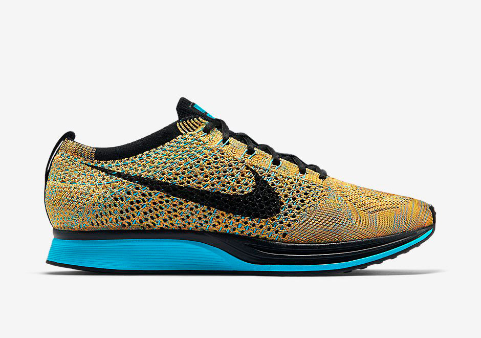 newest a1481 1a191 Nike Flyknit Racer - Bright Citrus - Blue Lagoon - SneakerNe