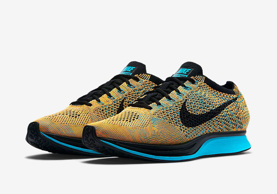 nike flyknit racer bright citrus blue lagoon page 2 of 2. Black Bedroom Furniture Sets. Home Design Ideas