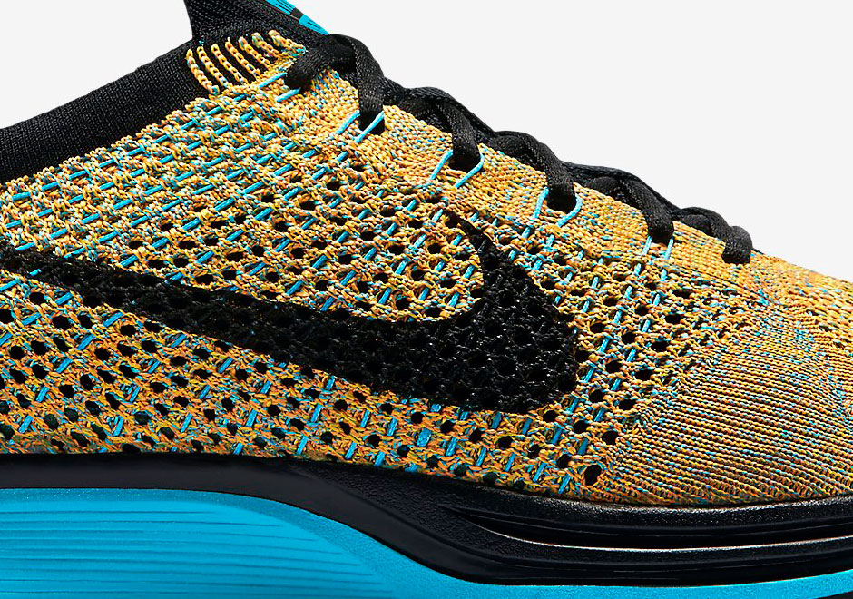 4c7d2752cf575 Nike Flyknit Racer - Bright Citrus - Blue Lagoon - SneakerNews.com