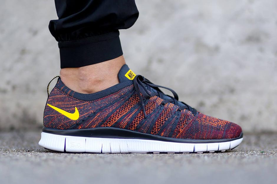 san francisco fe1b7 011d5 Nike Free Flyknit NSW Color AnthraciteLaser Orange-Gym Red-Total  Orange-Black-White Style Code 599459-008