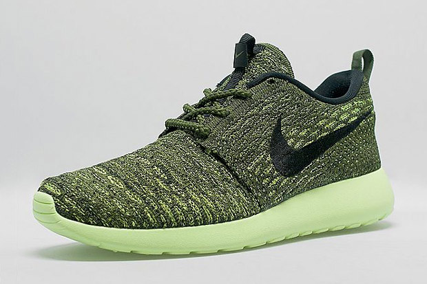The latest women exclusive Nike Flyknit Roshe Run champions a new Volt  outsole to accompany an array of matching shades to make you green with  envy.