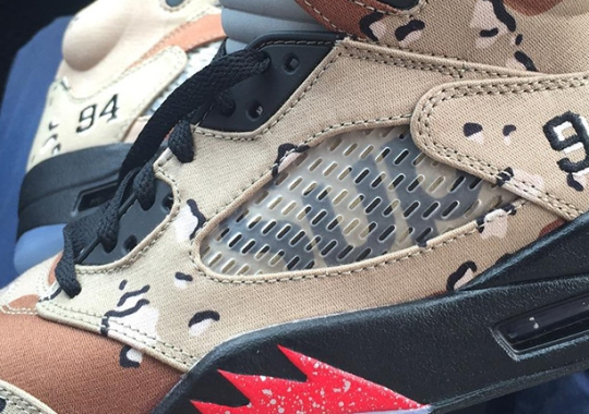 "The Details That Make Up The Supreme x Air Jordan 5 ""Desert Camo"""