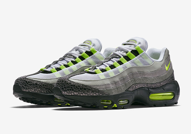 """on sale 17a5c b7793 Releasing the Nike Air Max 95 """"Neon"""" with the OG box wasn t enough for  Nike, as they also plan on releasing a Safari-printed pair and another  model ..."""