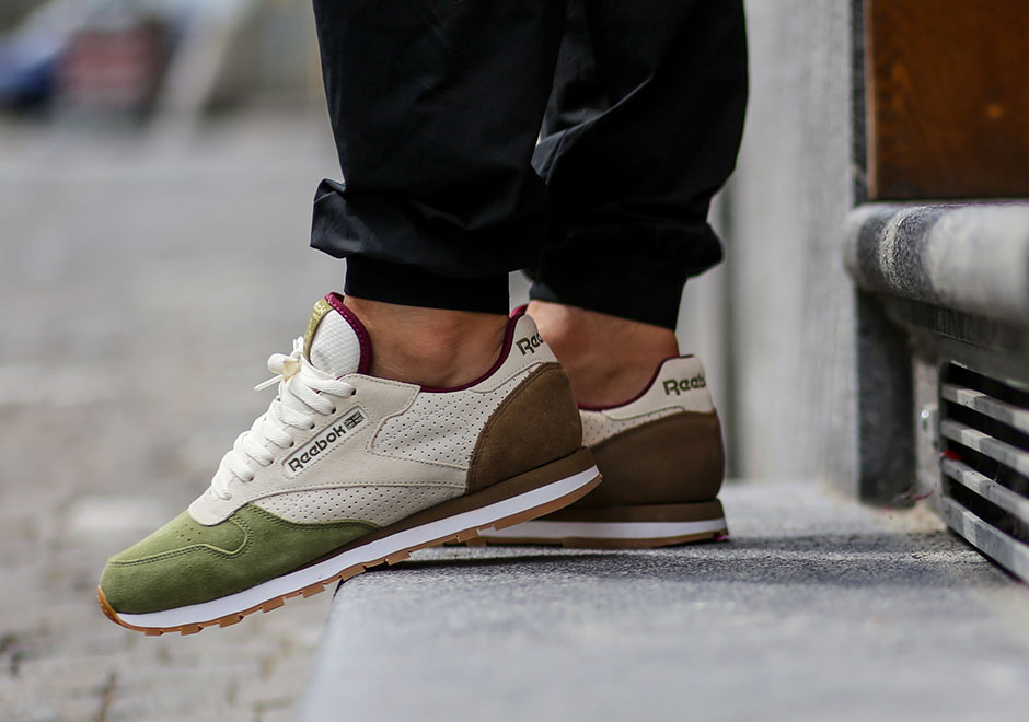 buty reebok classic leather white green