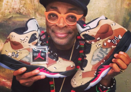 While You Wait For The NikeLab Release, Spike Lee Flosses His Camo Supreme Jordans