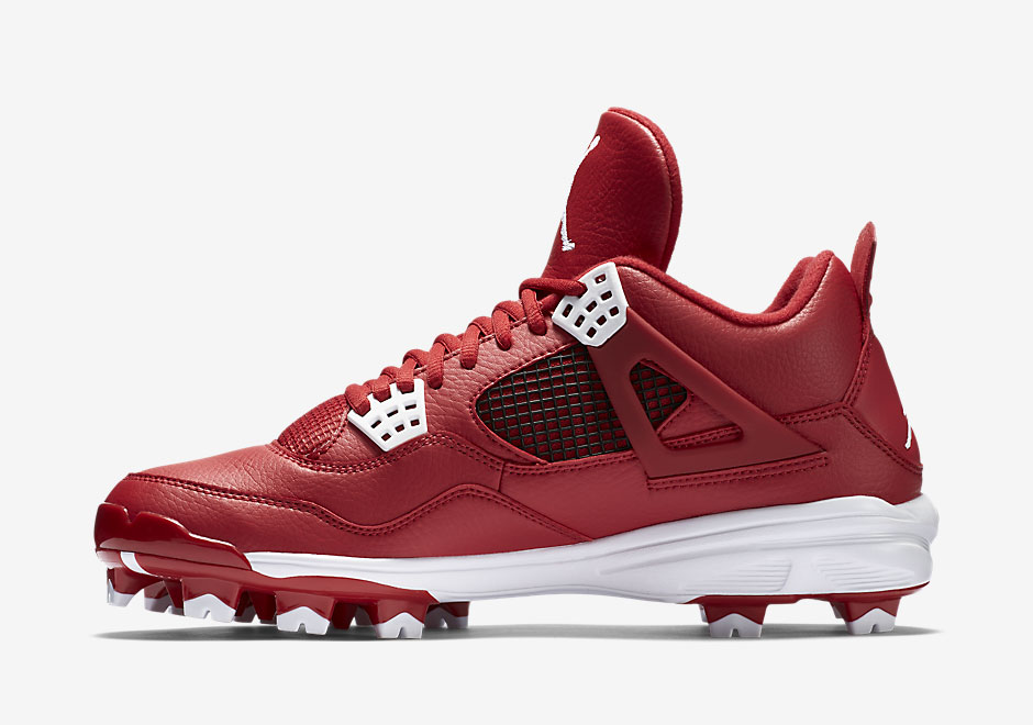 75bfb356b0fb Air Jordan 4 MCS Cleats. Color  Gym Red White