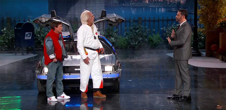 Марти МакФлай и Док Браун на шоу Джимми Киммела