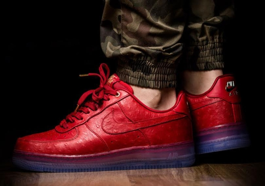 Red Ostrich Uppers On The Nike Air Force 1
