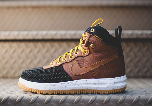 nike air force 1 duck boot british tan\/black boots