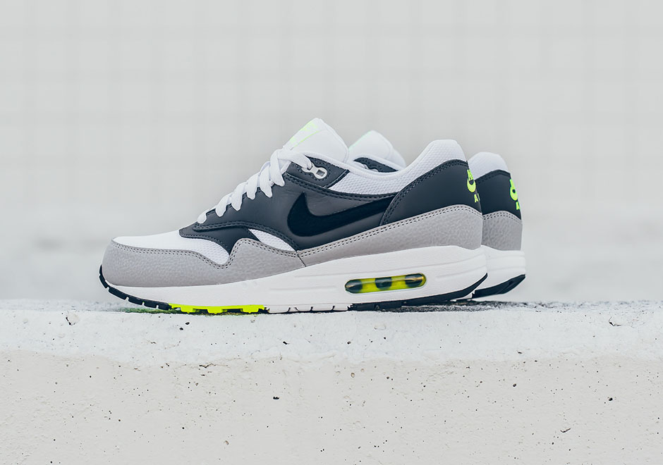 super popular 73a12 78efe france nike air max 1 essential leather black white dark grey 2 ca026  0abd6  norway neon scheme is completed with dark grey leather quarter  panels a light ...