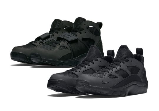 "timeless design a08fc 37265 Nike Air Trainer Huarache Low. Two ""Blackout"" Options For Nike Trainer  Huarache Fans"