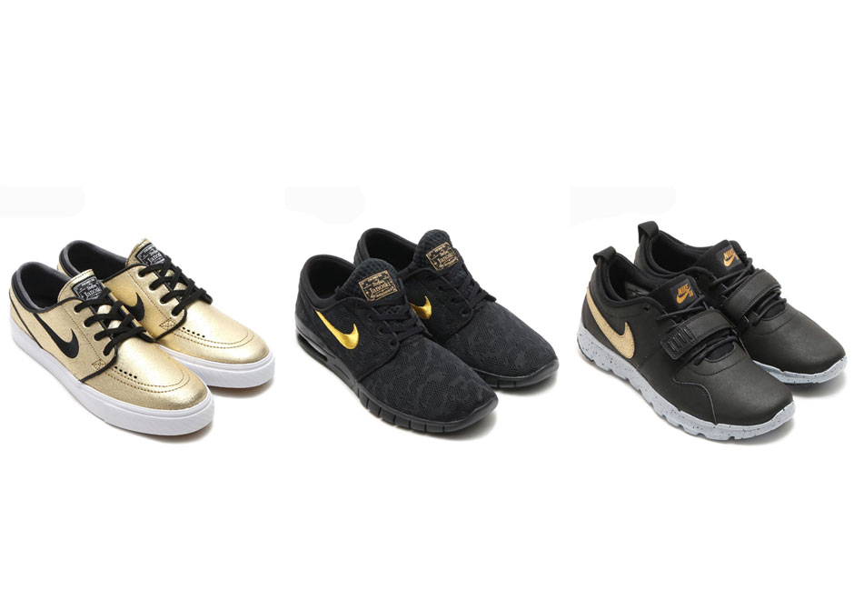 Nike SB gets ritzy this fall with a premium trio of models adorned with  metallic gold. The luxurious treatment is applied to the Zoom Stefan Janoski,  ...