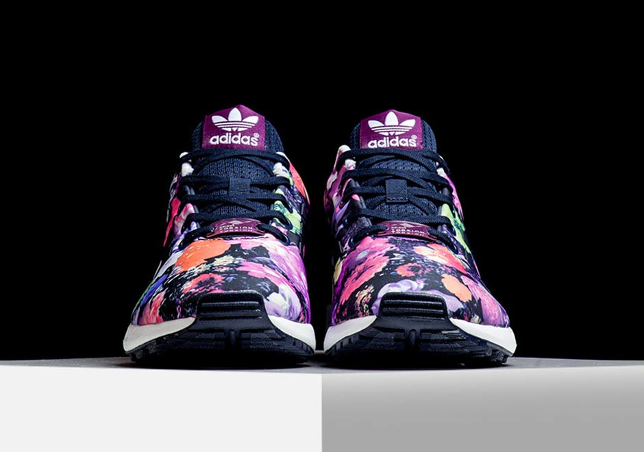pink flower printed zx flux by adidas