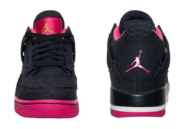 """Air Jordan 4 GG """"Denim"""". Color: Black/Vivid Pink Style Code: 487724-408.  Release Date: January 16th, 2016"""
