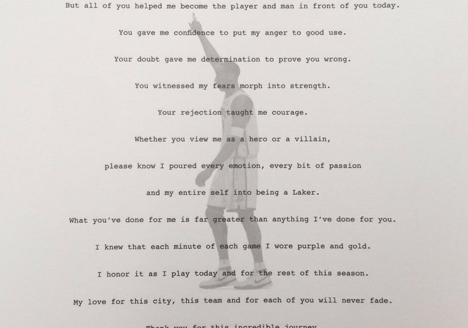 Kobe BryantS Retirement Letter To Laker Fan Hits Ebay  SneakernewsCom