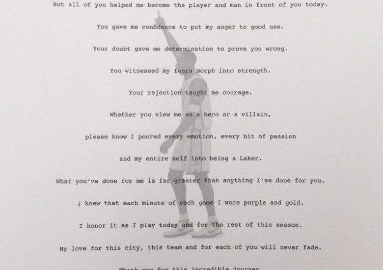Kobe Bryant's Retirement Letter To Laker Fan Hits eBay