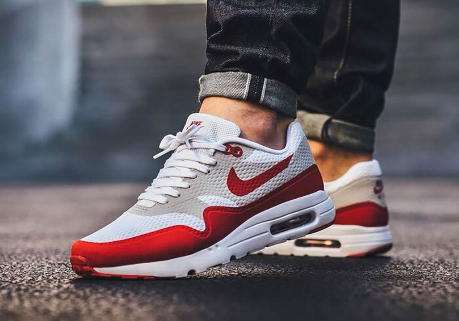 """Nike Air Max 1 Ultra """"Sport Red"""". Color  White Varsity Red-Neutral Grey- White Style Code  819476-106 9a0b34a42"""