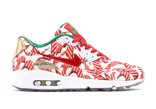"Candy-cane Swooshes for Holiday 2015? Nike went there. The latest women's  exclusive Nike Air Max 90 nicknamed the ""Misplaced Checks"" edition features  an ..."