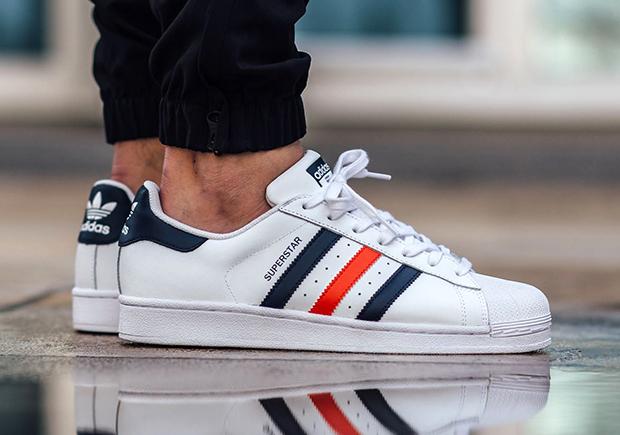 adidas superstars red stripe