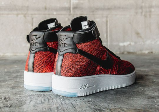 The Nike Air Force 1 Mid Brings In Red Flyknit