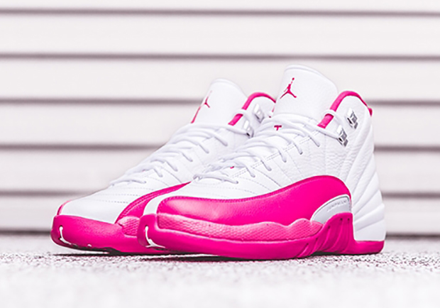 "Air Jordan 12 GS ""Valentine s Day"". Color  White Dynamic Pink-Metallic  Silver Style Code  510815-109. Release Date  March 5th 49857938b"