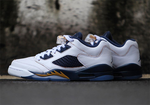 "662d8d44d246 Air Jordan 5 Low ""Dunk From Above"". Color  White Metallic Gold  Star-Midnight Navy Style Code  819171-135. Release Date  February 20th"