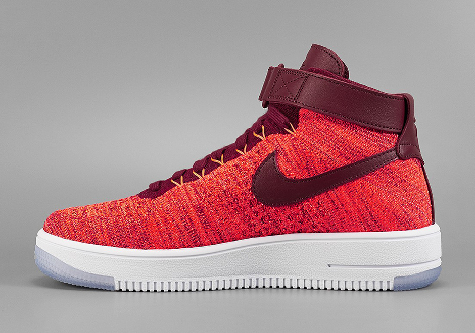 b339c5079ccff Nike Flyknit Air Force 1 Mid. Color  Total Crimson Bright Crimson-Team Red  Style Code  818018-800