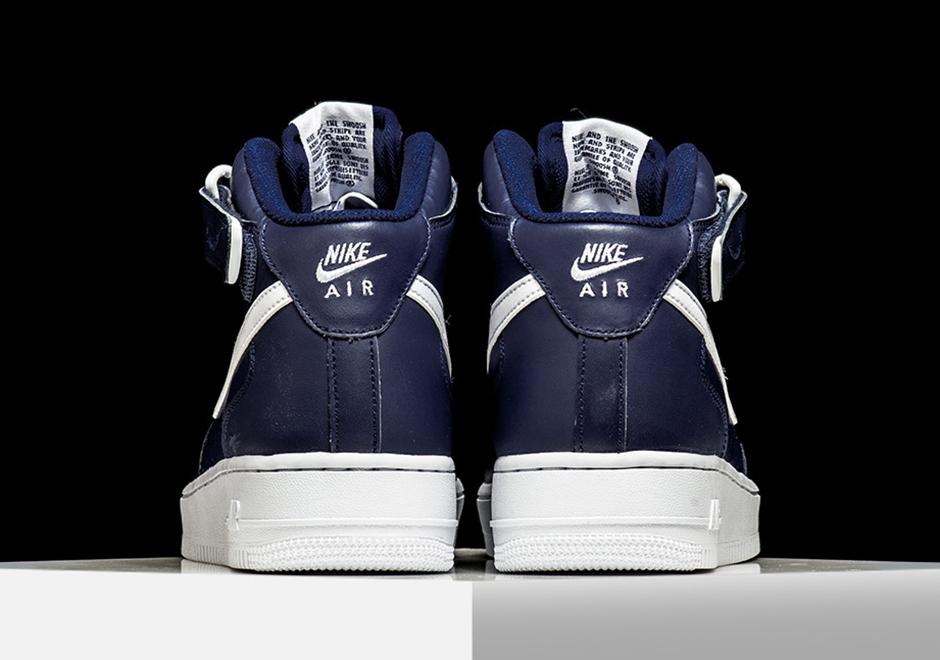 Nike Air Force 1 Haut Blanc Et Bleu Foncé 8SaRl