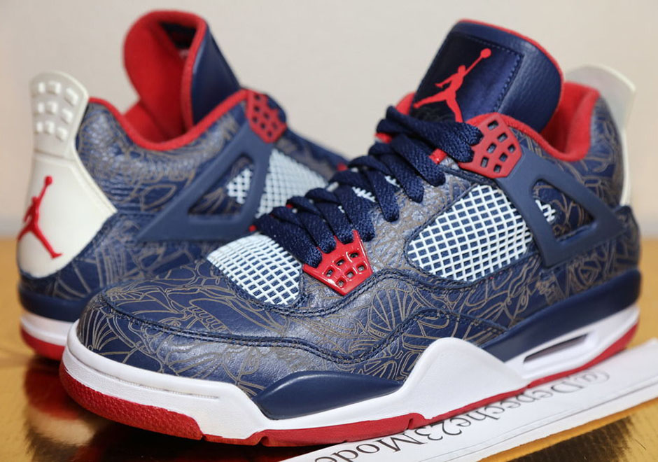 "quality design f2ee3 d0d6d A Rare Look At Carmelo Anthonys Air Jordan 4 Laser ""USA"" PE From 2008"