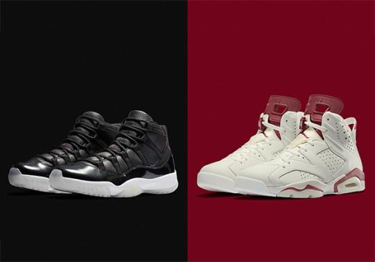 """Air Jordan 11 """"72-10"""" And Air Jordan 6 """"Maroon"""" Restocking Mid-February"""