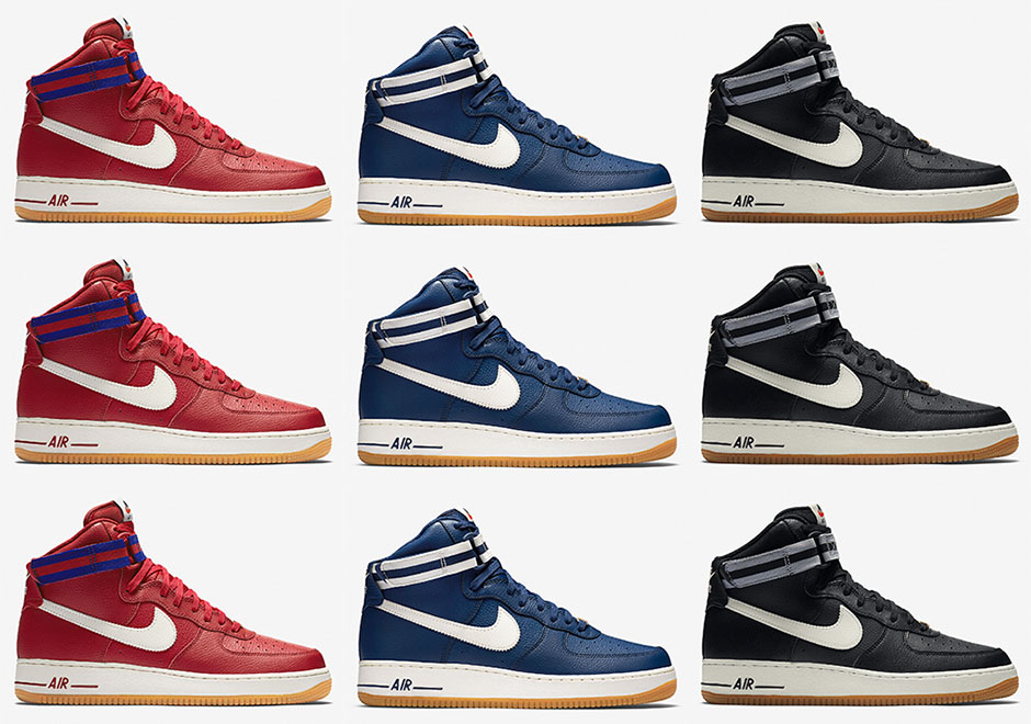 reputable site a83cc ca982 This Trio Of Nike Air Force 1 Highs Throw Back To Vintage Basketball -  SneakerNews.com