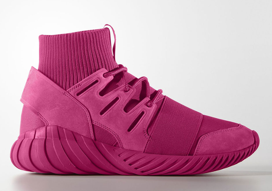 Adidas Tubular Doom Pink On Feet