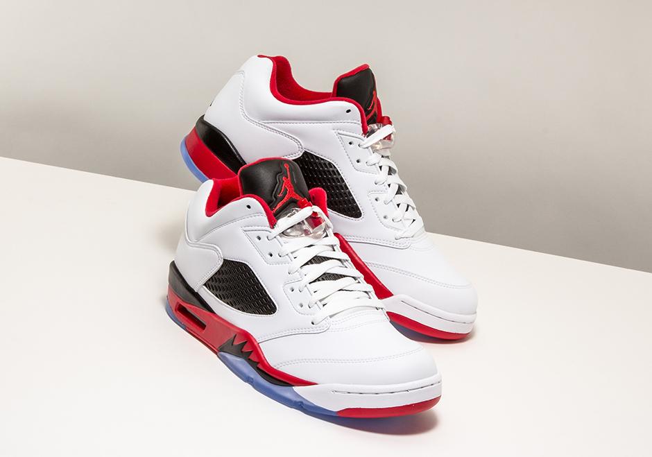 Nike Air Jordan 5 Blanco / Rojo Fuego / Negro Estética 9vDTOn