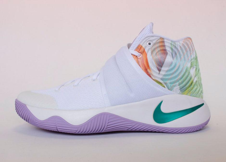 "7301480ead1b7c Nike Kyrie 2 ""Easter"". Color  White Hyper Jade Urban Lilac-Bright Mango"