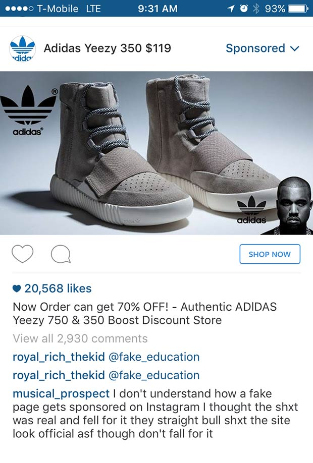 Instagram Features Sponsored Ad For Fake Yeezy Boosts