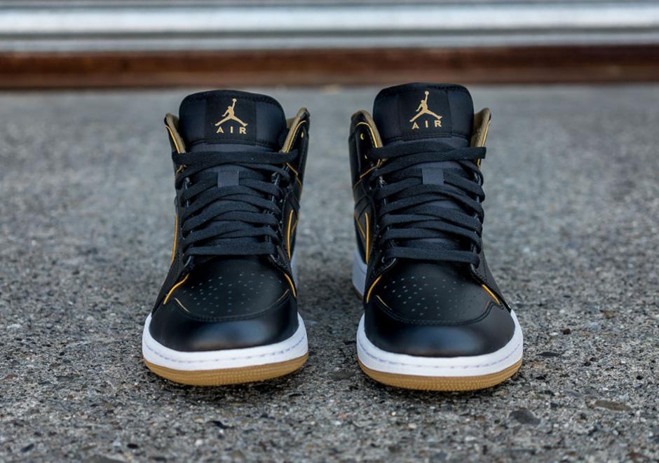 f1a1c57e7aad Jordan 1 Mid Black Metallic Gold Spring 2016