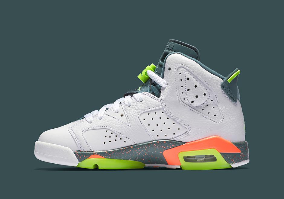 e5781fa5543 ... Air Jordan 6 GS. Color White Ghost Green-Hasta-Bright Mango Style Code  ...