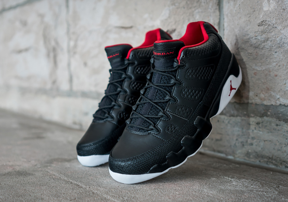 "5f441cddb43304 AIR JORDAN 9 LOW ""BRED"". Color  Black University Red-White Style Code   832822-001"