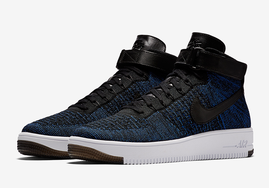 a detailed look at the nike air force 1 mid flyknit game royal. Black Bedroom Furniture Sets. Home Design Ideas