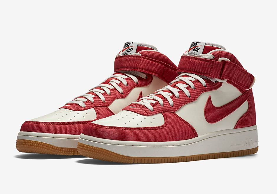Air Force Denim Hits Red Twill The Nike 1 Mid DWHE29IY