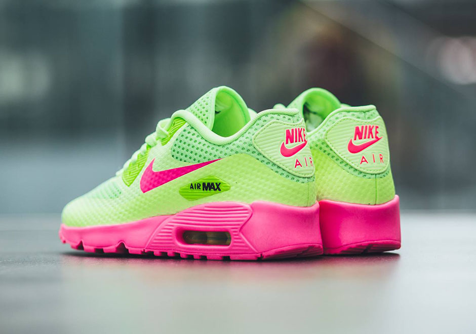 nike air max 90 neon pink green
