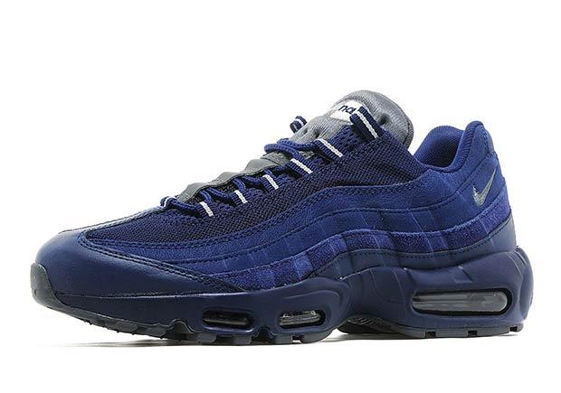 Dark Blue Suedes Hit The Nike Air Max 95 446b82b6bd82