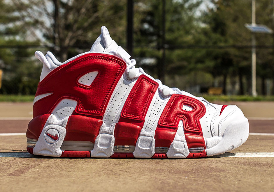 Nike Air More Uptempo White Gym Red 414962 100