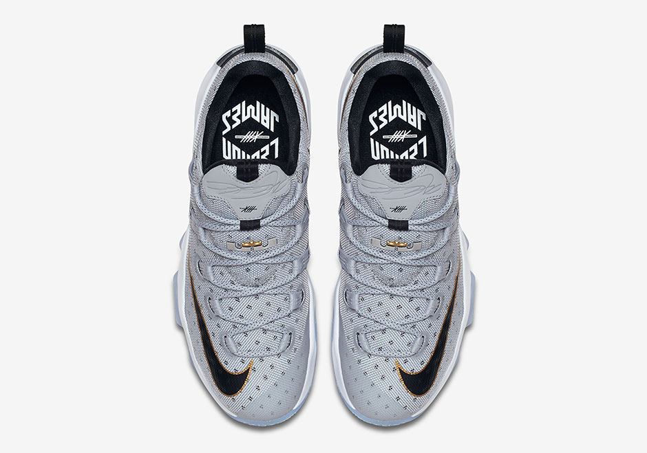 """f3eccf2f6c9 Nike LeBron 13 Low """"Cool Grey"""". Color  Cool Grey Metallic Gold-White-Black  Style Code  831925-071. Release Date  April 4th"""